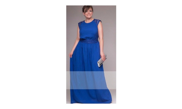 Women Lace Shoulders Sleveless Long Plus Size Gown - JPWD480 - JPWD481