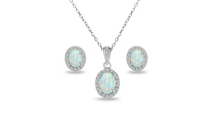 White Opal & White Topaz Oval Halo Necklace & Earrings Set in Sterling Silver