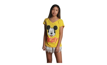 Mickey Face Yellow V-neck
