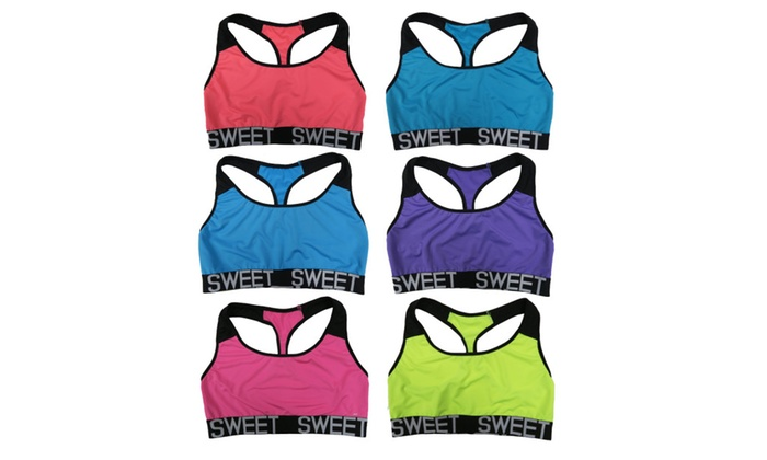 Women 6 Pack Neon Color Sweet Band Matching Yoga Sports Bras