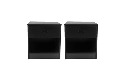Set of 2 Nightstand End Tables Pair Bedroom Table