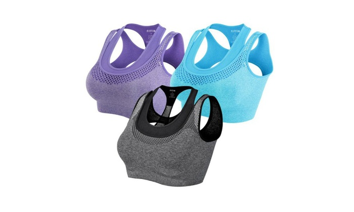 Womem Double Layer Seamless Racerback Yoga Sports Bra Pack of 3