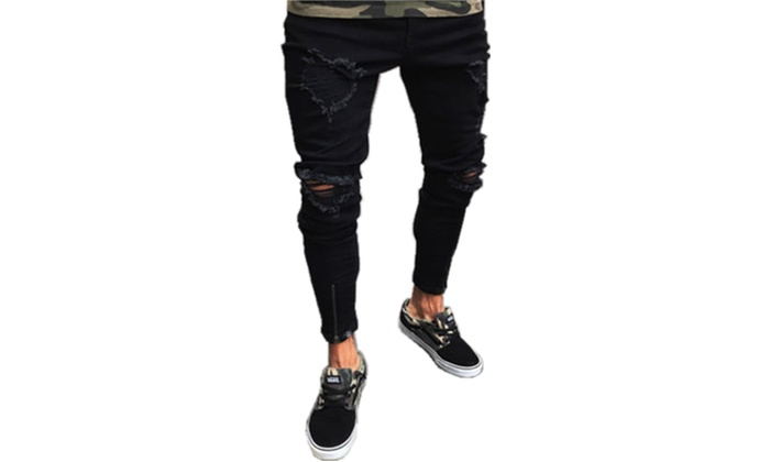 fc4dfa6d715 Men's Ripped Skinny Jeans Destroyed Frayed Slim Fit Denim Pant Zipper US