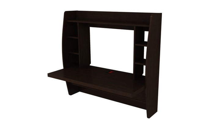 Wall Mount Floating Computer Desk Storage Two Shelf Laptop Computer ...