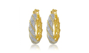 14K Gold Plated Diamond Accent Twisted Hoop Earring-KE18166
