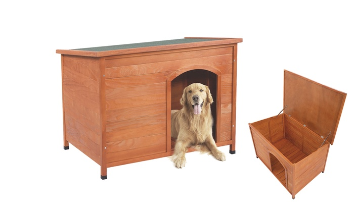 Outdoor Waterproof Wood Dog House With Hinged Roof Groupon