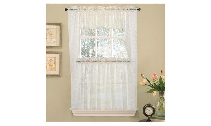 Elegant Priscilla Lace Kitchen Curtains   Swag ...