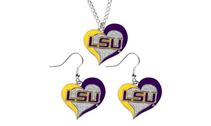 NCAA Swirl Heart Pendant Necklace And Earring Set