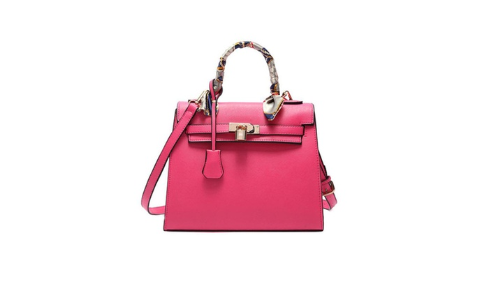 LIAN Designer Satchel Purse Crossbody Bag Handbag with Scarf