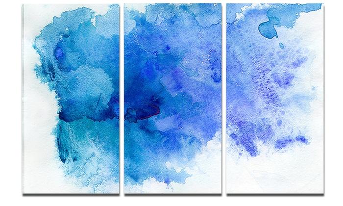 Blue Watercolor Abstract Art Painting Glossy Metal Wall Art