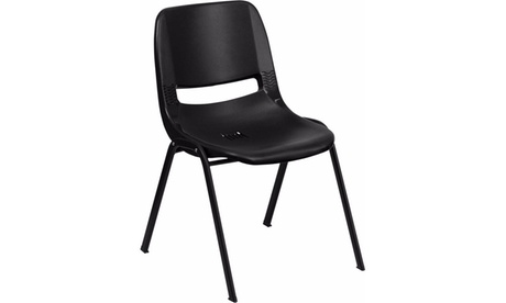 HERCULES Series 880 lb. Capacity Black Ergonomic Shell Stack Chair fc23f153-919d-4635-9517-1c07b1cb647f