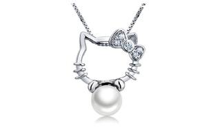Hello Kitty Shape Silver Pendant Necklace
