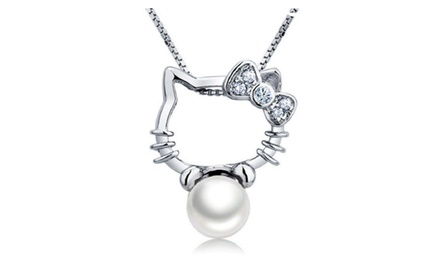 Hello Kitty Shape Silver Pendant Necklace
