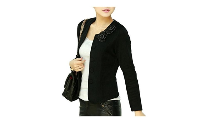 Lady Slim Jackets Woman Thin Coats Flower & Bow Decoration