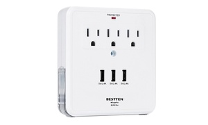 QPower Wall Mount USB Outlet Charging Station with Three USB Ports