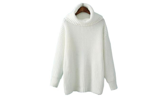 Women's Cotton Blend Turtleneck Pullover Sweater