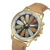 Beautiful Genuine Leather Feather Pattern Casual Watch for Women