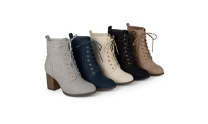 Journee Collection Womens Stacked Heel Lace-up Booties