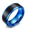 Carbide Matte Finished Trendy Black/Blue Tungsten Ring for Men