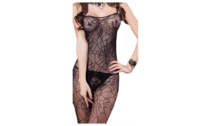 Women's Sexy Fishnet Webbed Lingerie Bodystocking - Black / One Size