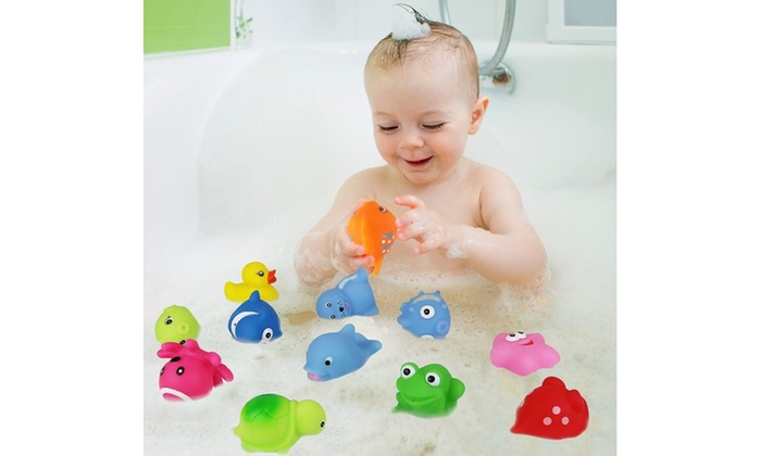 click n 39 play assorted colorful squirter bath toys 12 pack groupon. Black Bedroom Furniture Sets. Home Design Ideas