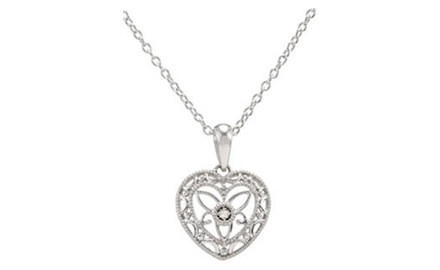IceCarats Designer Jewelry Sterling Silver with Diamond Heart 18 Inch Necklace