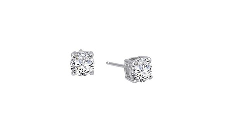 Platinum Plated Sterling Silver Simulated Diamond CZ Stud earrings