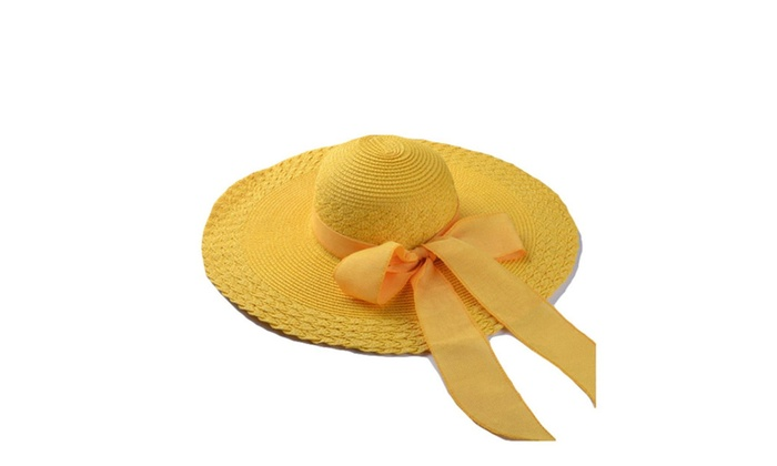 Women's Embroidered Solid Stylish Single Layer Panama Hat  - Yellow / One Size