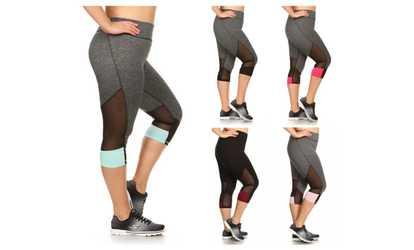 image placeholder image for plus size activewear capris with contrast mesh u0026 color panel