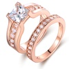 18K Rose Gold Plating with Cubic Zirconia Ring Set By Barzel