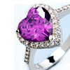 Fashion Purple Crystal Elegant Heart Shape Ring (6,7,8)
