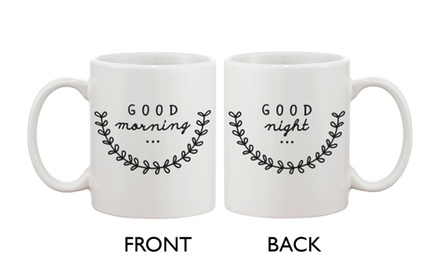 Cute Ceramic Coffee Mug - Good Morning Good Night