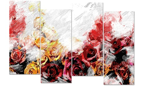 Mixed Roses Floral Metal Wall Art 48x28 4 Panels a7664826-a99a-4c60-9ef7-69e1c5be589a