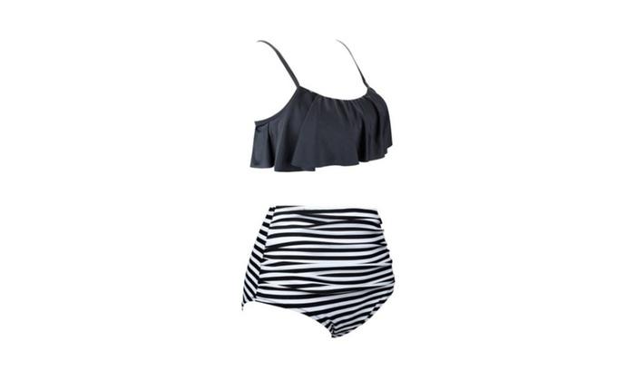 Womens 2 Piece Swimsuit Strappy Boho Flounce Falbala High Waist Bikini