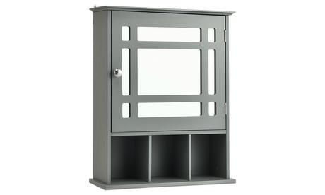 Costway Mirrored Medicine Cabinet Bathroom Wall Mounted Adjustable Shelf Grey