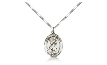IceCarats Designer Jewelry Sterling Silver St. Christopher 3/4 X 1/2 Inch Necklace