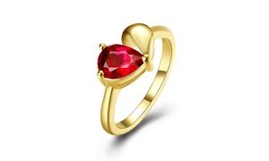Synthetic Ruby Floral Ring in 14K Gold By Golden NYC Jewelry