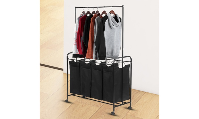 4 Bag Rolling Laundry Sorter With Hanging Bar Heavy Duty With Wheels
