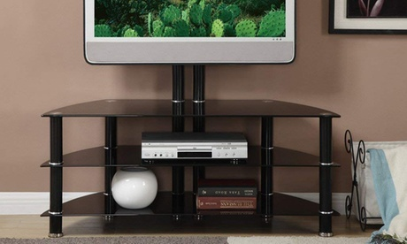 SIMPLE RELAX Three Glass Shelf Metal Support Unit TV Stand, Black photo
