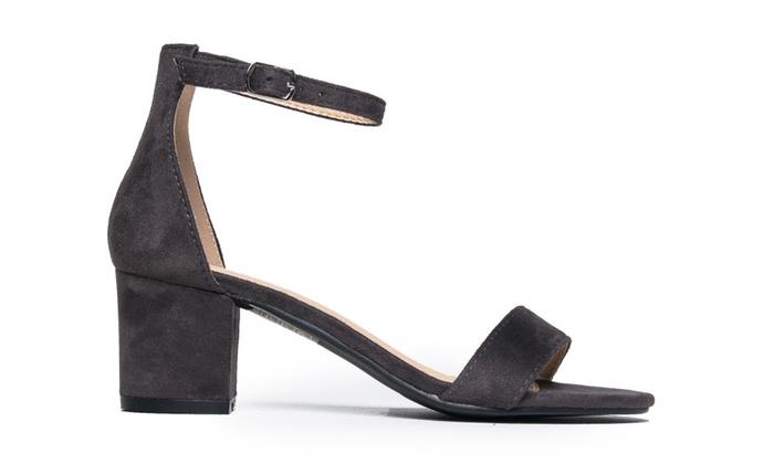 Amazon.com   J. Adams Ankle Strap Kitten Heel - Adorable Low Block Heel - Daisy   Heeled Sandals