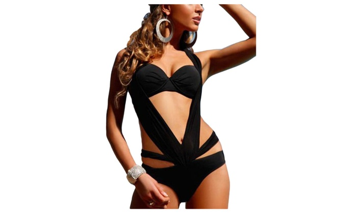 Women's Cutwork Slim Fit Fashion Outdoor Solid One-Pieces