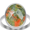 """""""Orchid jewelry's"""" 8.5CTTW genuine unakite 925 sterling silver ring"""
