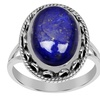 Orchid Jewelry 0.925 Sterling Silver Bezel Set Oval Cut Lapis Ring