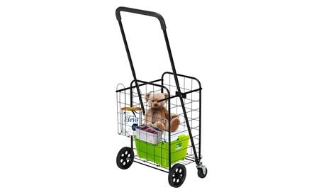 Grocery Utility Cart Shopping Cart, 66 lbs Max Capacity, Black