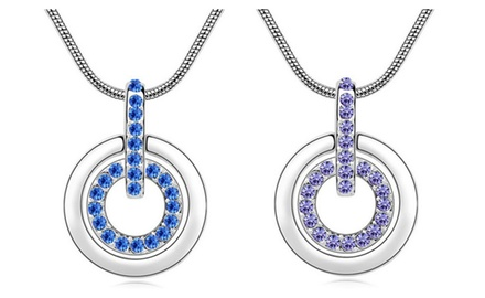 KATGI Fashion 18K White Gold Plated Austrian Crystal Circle of Love Pendant Necklace