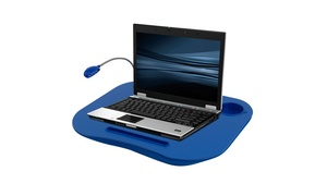 Laptop Lap Desk, Portable with Foam Cushion, LED Desk Light, and Cup Holder