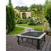 Astella 30 Inch Outdoor Black Steel Frame Fire Pit w/ Ceramic Tile & Fire Poker
