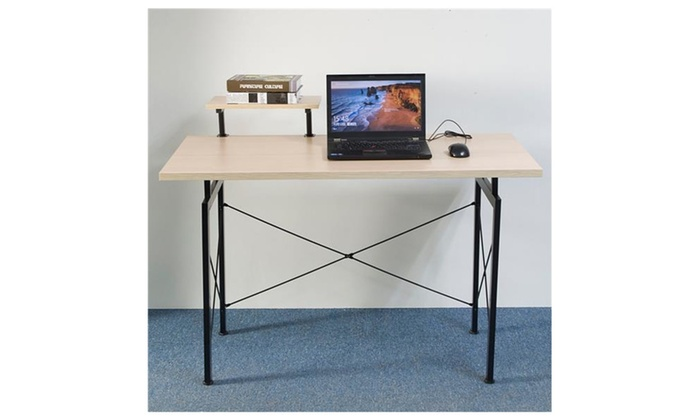 Concise Wooden Computer Desk With Top Shelf Home Office Furniture