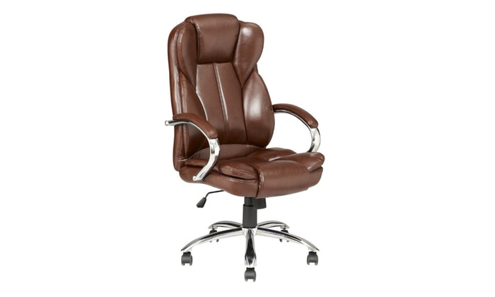 Brown Modern High Back Leather Executive Office Desk Computer Chair ...