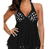 Womens Polka Dot Plus Size Tankini Set Two Piece Swimwear